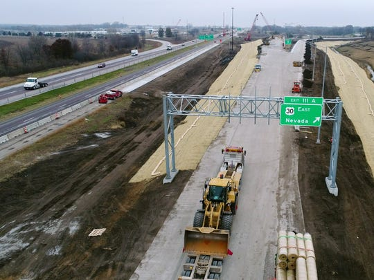"Construction work continues Friday, Nov. 17, 2017,  at a new ""flyover"" ramp at the busy interchange of I-35 and U.S. 30 in Ames. The bridge work at the construction site is one of the projects that will continue through the winter months."