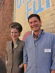 Showing off 1940s attire and hairstyles were Kylie Pine and Bob Reinhardt of the Willamette Heritage Center. They were touting the upcoming Heritage Celebration on July 11.