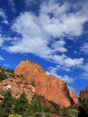 Zion National Park's signature red road takes visitors along a five-mile scenic drive through the park's Kolob Canyons section.