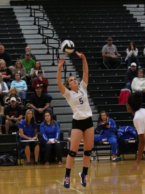 Chillicothe's Tori Bettendorf sets a ball during a Division II sectional semifinal against Waverly this past volleyball season. Bettendorf was a key contributor for her team with a total of 77 assists, 58 digs and 58 kills.