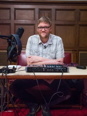 Ypsilanti musician Matt Jones produces field recordings of Michigan musicians at the First Congregational Church of Kalamazoo in Kalamazoo, Mich. on Sunday, Jan. 24, 2016.