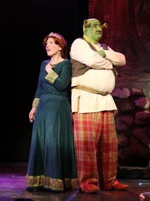 "Beth Smith, as Fiona, and Dave Trippett, as Shrek, give delightful performances in ""Shrek."""