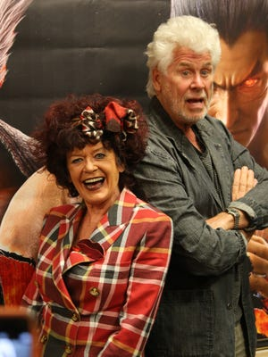 "Patricia Quinn, left, and Barry Bostwick, right, pose for a photo for media at GameWorks Thursday, March 17, 2016. Quinn played Magenta while Bostwick played Brad Majors in the 1975 film ""Rocky Horror Picture Show."""