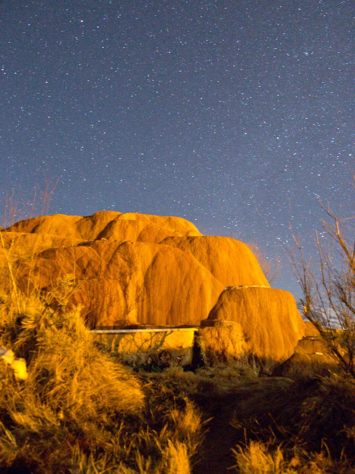 Mystic Hot Springs, Utah at night.