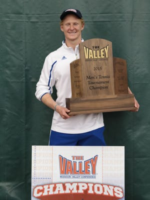 Benjamin Mullis was part of the 2015 Drake University men's tennis team that won the NCAA Missouri Valley Conference tournament that year in Champaign, Ill.