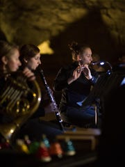 Flutist Emlyn Johnson and clarinetist Ellen Breakfield-Glick at Mammoth Cave National Park.