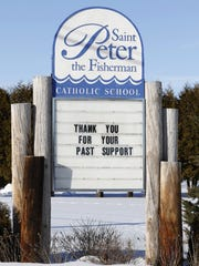 Sign at the former St. Peter the Fisherman School in Two Rivers.