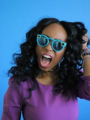 Actress Angell Conwell sports Snapchat Spectacles