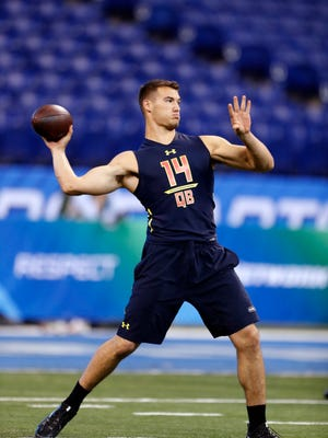 Mar 4, 2017: North Carolina Tar Heels quarterback Mitch Trubisky throws a pass during the 2017 NFL Combine at Lucas Oil Stadium.