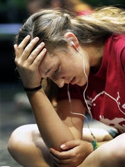 Rachel Foster performs an emotional scene during a