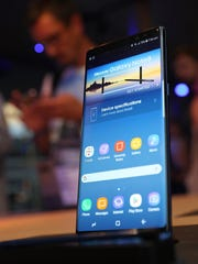 Samsung's Galaxy Note 8 smartphone is shown off in