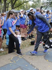 Raider Walk is a game day tradition for MTSU football players and fans.