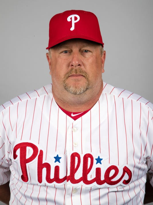 FILE - This Feb. 20, 2017, file photo shows Matt Stairs of the Philadelphia Phillies, taken in Clearwater, Fla. The rebuilding San Diego Padres have hired Matt Stairs as their hitting coach. Stairs replaces Alan Zinter, who was fired on Sept. 1. Stairs is the Padres' ninth hitting coach since Petco Park opened in 2004. The move was announced Monday, Oct. 30. (AP Photo/Matt Rourke, File)