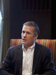 Missouri Gov. Eric Greitens speaks during an interview in his office at the Missouri Capitol Saturday, Jan. 20, 2018, in Jefferson City, Mo. Greitens discussed having an extramarital affair in 2015 before taking office.