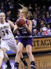 Kaely Hummel of USF stops to put up a shot in front of Allie Koehn of Augustana during last year's NSIC semifinal game at the Pentagon.