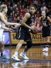 Kayonna Lee of Central MO turns to put up a shot as