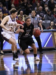 Kelsey Williams of Central MO attempts to dribble past
