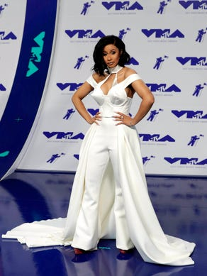 Cardi B arrives on the red carpet for the 34th MTV