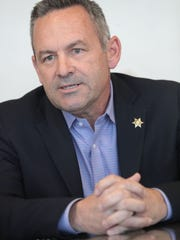 Riverside Sheriff candidate Chad Bianco speaks to the