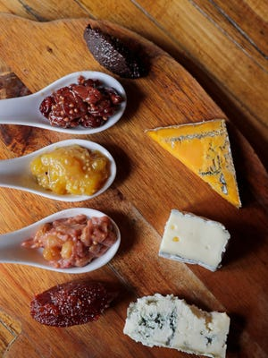 Fruit in sweet-savory condiments can be served with meats, on sandwiches and with cheeses. Shown here (from top) are cherry mostarda, mango chutney and rhubarb mostarda at chef Karen Bell's Bavette la Boucherie, 330 E. Menomonee St.