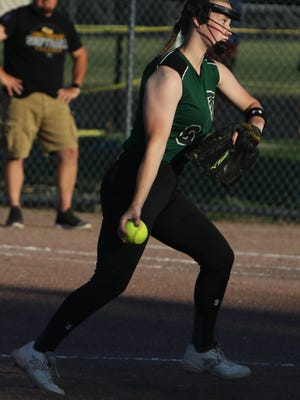 West Burlington-Notre Dame's Lauren Summers (6) delivers a pitch during their game against Louisa-Muscatine High School, Wednesday at West Burlington's Barb Carter Field.