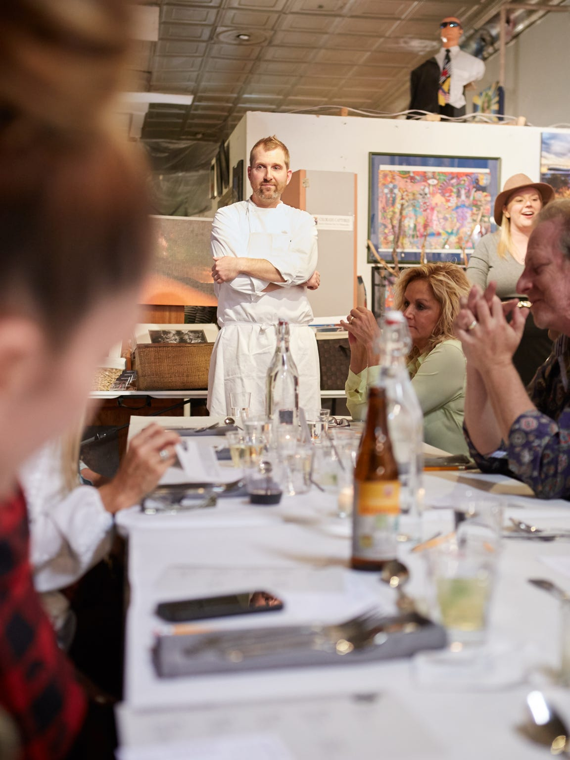 Diners enjoy a pop-up restaurant at the Denver Art Society, hosted by Dinner Lab and featuring chef Aaron Grosskopf of San Francisco, on Saturday, Nov. 1, 2014.