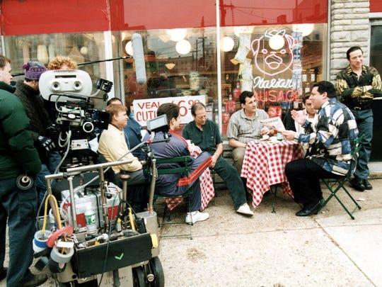Filming of 'The Sopranos' outside Satriale's Pork Store in Kearny.
