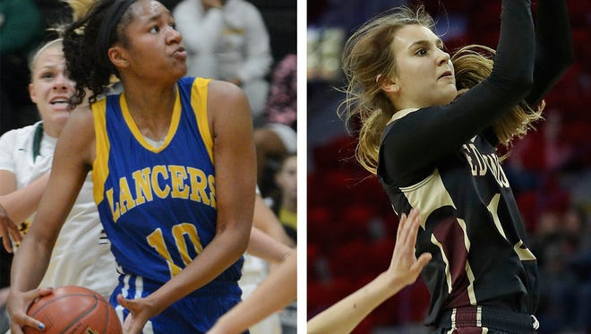 The Wisconsin Basketball Coaches Association picked Kenosha St. Joseph's Sidney Cooks (left) and Madison Edgewood's Estella Moschkau as co-winners of the Miss Basketball award.