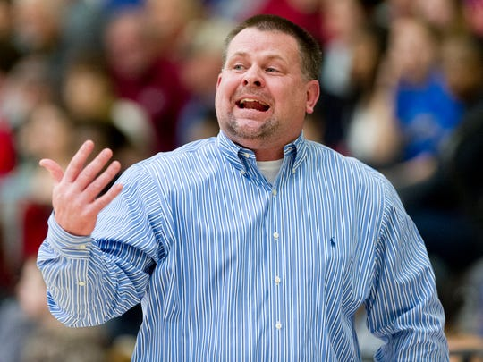 Karns Head Coach Lee Henson calls during a game between Oak Ridge and Karns at Karns High School in Knoxville, Tennessee on Friday, February 3, 2017.