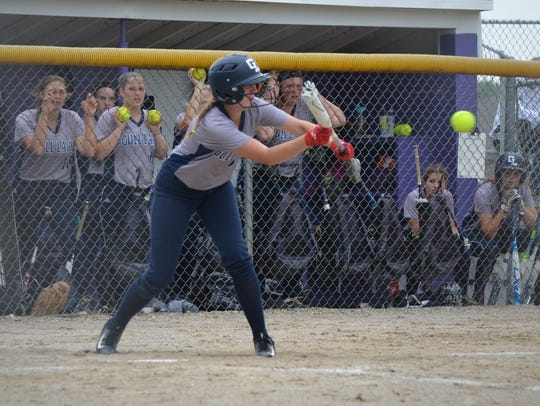 Ashlee Kramer looks to bunt for Gull Lake during this