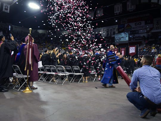 NMSU engineering students fire confetti cannon at commencement