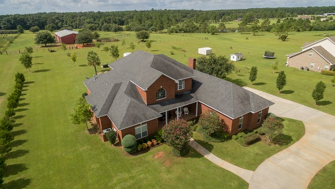 34354 Magnolia Farms Road, aerial front view of the property.