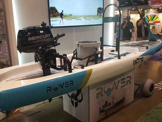 The Bote Rover outboard-powered standup paddleboard,