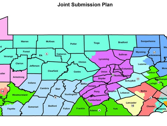 Proposed map redistricting Feb. 10, 2018