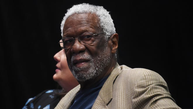 Former NBA player Bill Russell attends the Commissioner Press Conference at the NBA All-Star Game.
