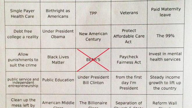 The game board for the Democratic Debate Bingo night at Bear's On Fairfield bar in Shreveport.