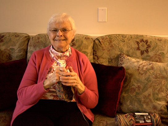 Anna Lauer, 83, crochets another hat at her home in