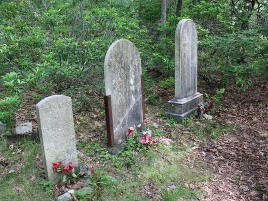 Headstones mark burial places for the Jones family