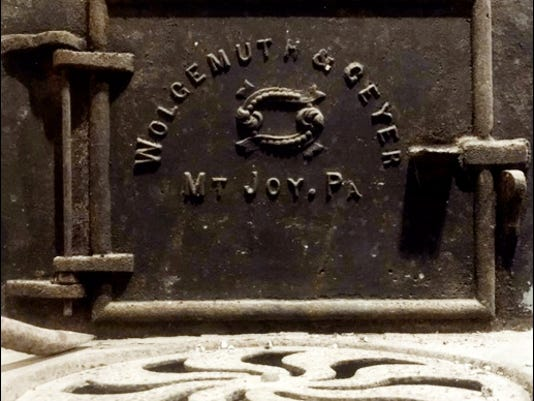 Makers plate on butchers stove in basement of the home at 3790 East Market Street, Springettsbury Township, York Co., PA (Photo by Greg Koller)