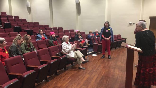 Women brainstorm action points they can take after a discussion of gender issues in Staunton on International Women's Day, Wedesday, March 8, 2017, on the Mary Baldwin University campus.