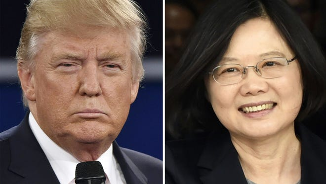 This combo of file photos shows Republican presidential candidate Donald Trump and Taiwan's President Tsai Ing-wen.