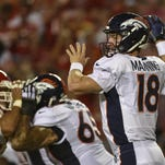 Denver Broncos quarterback Peyton Manning (18) in action against the Kansas City Chiefs.