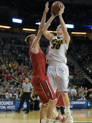 """Aaron White and Iowa will almost certainly have a tougher time scoring Sunday against No. 2 seed Gonzaga than against Davidson on Friday. """"They're very similar to us, to be honest, with their size,"""" White said of the Bulldogs."""