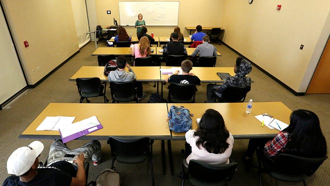 Students in class at Marian University on Nov. 4.