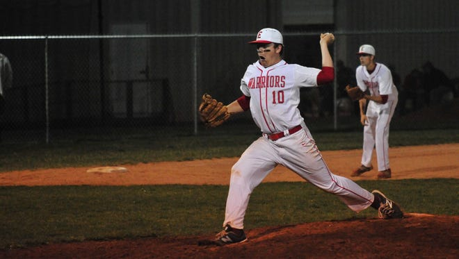 Recent Erwin graduate Tanner Hall pitches during a March game. The Warriors will have a new coach (Caleb Harbin) for the 2017 season.