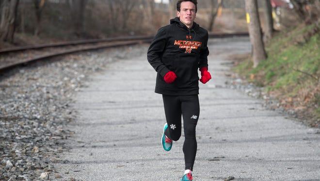 Dalton Hengst, of Hellam Township, runs on the York County Heritage Rail Trail in York Township Sunday January 29, 2017