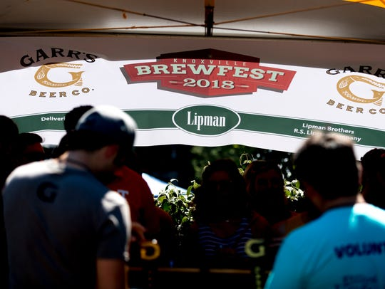 The 2018 Brewfest logo waves on a banner at the Garrs