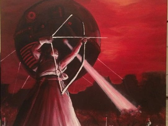 """""""Archery Competition, Neo-Tokyo"""" represents dusk through"""