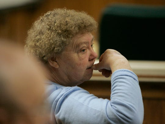 Steven Avery's mother, Delores Avery, waits for proceedings to begin in the courtroom on March 8, 2007 at the Calumet County Courthouse in Chilton.