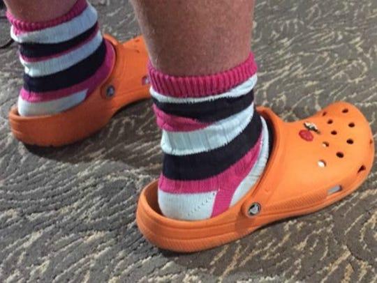Yes, Mario Batali wore his signature orange Crocs during